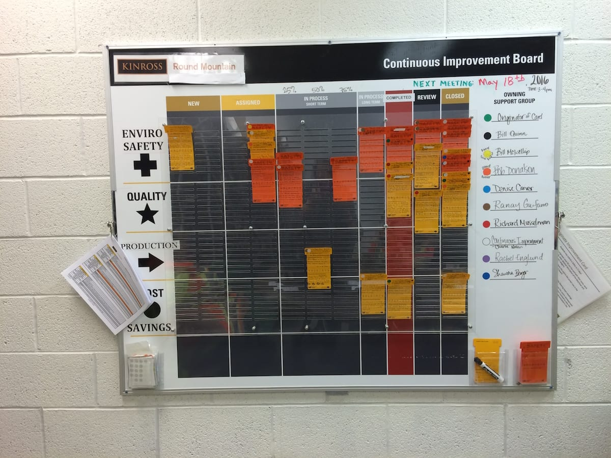 The continuous improvement board at Round Mountain
