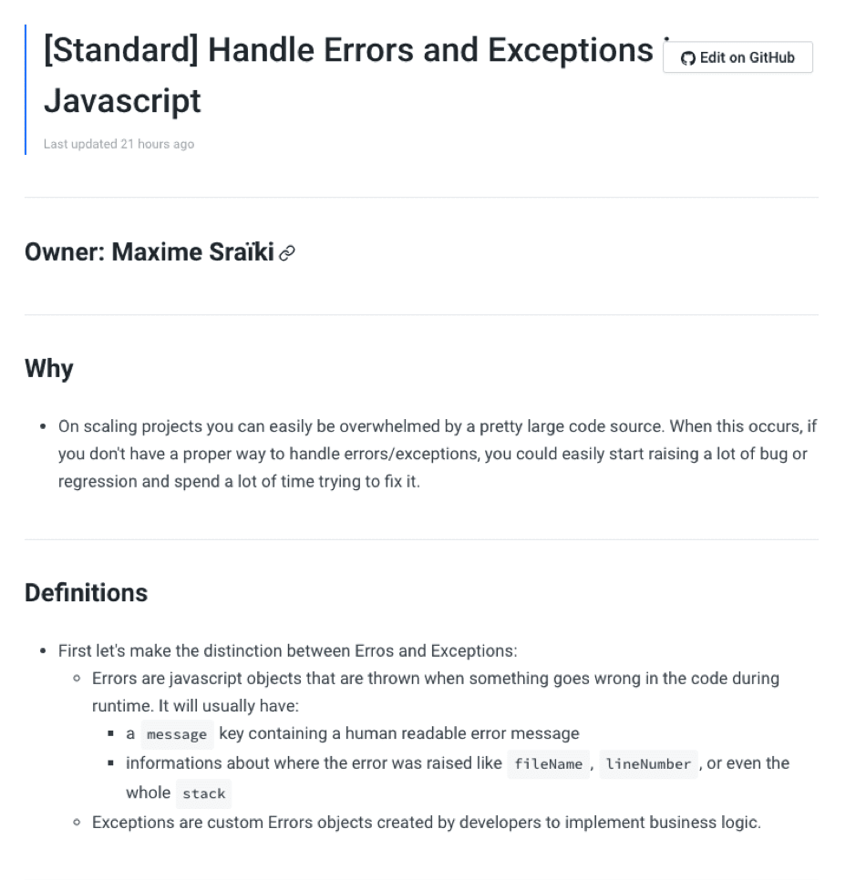 standard fixing of errors lean software development