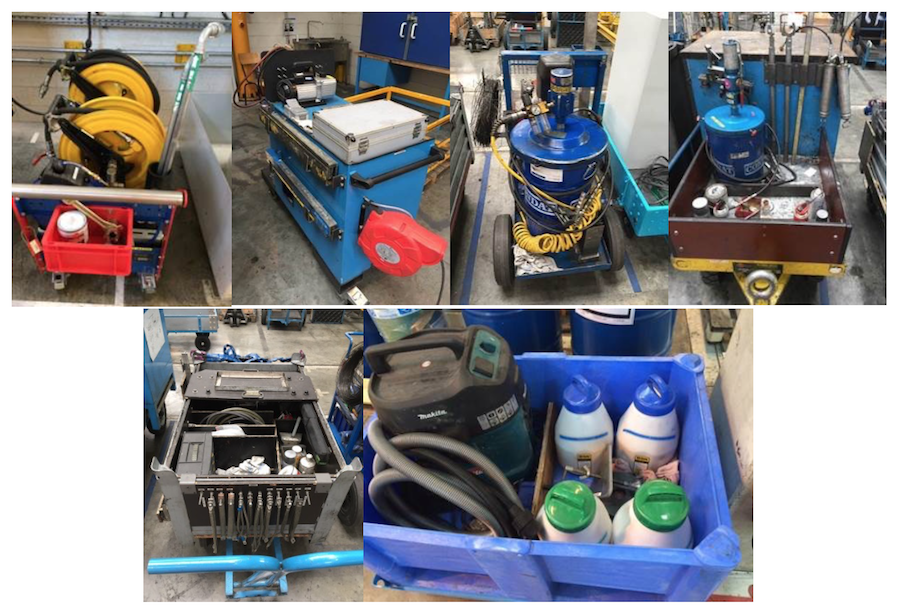 Placing all the tools necessary to technicians on one cart