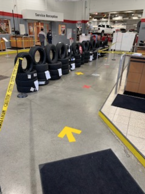 A safe, one-way flow in a Canadian car dealership and repair shop