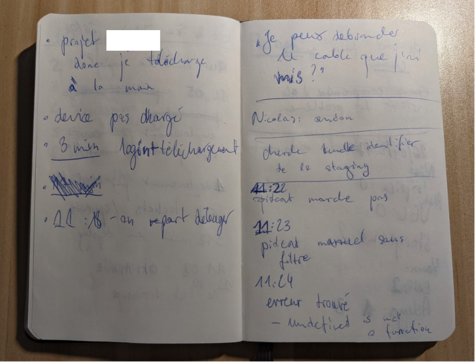 Notes from the CTO during a meeting